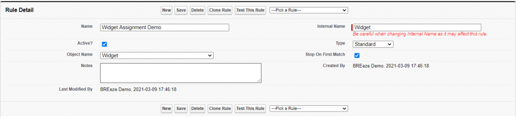 "Screenshot of BREeze rule detail customized to work with a ""Widget"" Custom Object."